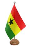 Ghana Desk / Table Flag with wooden stand and base